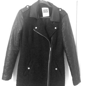 Black leather sleeved jacket